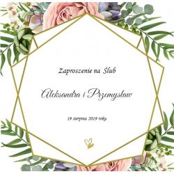 Kwiatowe zaproszenia Ślubne dedykowane z kopertą