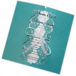 Ażurowe zaproszenia na ślub wesele metalizowane