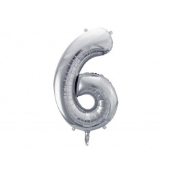 """Balon foliowy Cyfra """"6"""", 86cm, srebrny"""