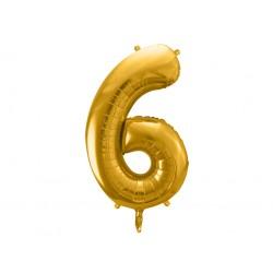 """Balon foliowy Cyfra """"6"""", 86cm, złoty"""