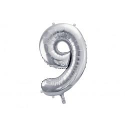 """Balon foliowy Cyfra """"9"""", 86cm, srebrny"""