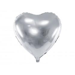 Balon foliowy Serce, 45cm, srebrny