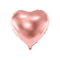Balon foliowy Serce, 45cm, różowe złoto