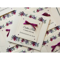 Fioletowe Kwiatowe zaproszenia Ślubne z kopertą