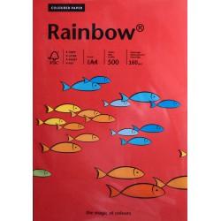 Papier gładki czerwony 160g A4 Rainbow kpl 25 szt.