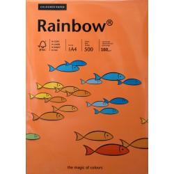 Papier gładki pomarańczowy 160g A4 Rainbow ryza