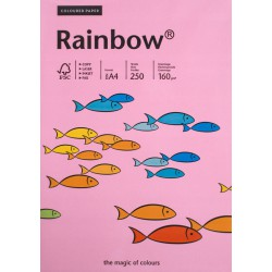 Papier gładki różowy 160g A4 Rainbow kompl. 25szt