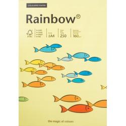 Papier gładki żółty 160g A4 Rainbow kompl. 25szt