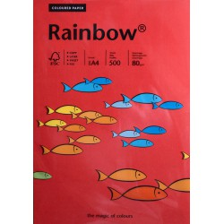 Papier gładki czerwony 80g A4 Rainbow kpl 50 szt.